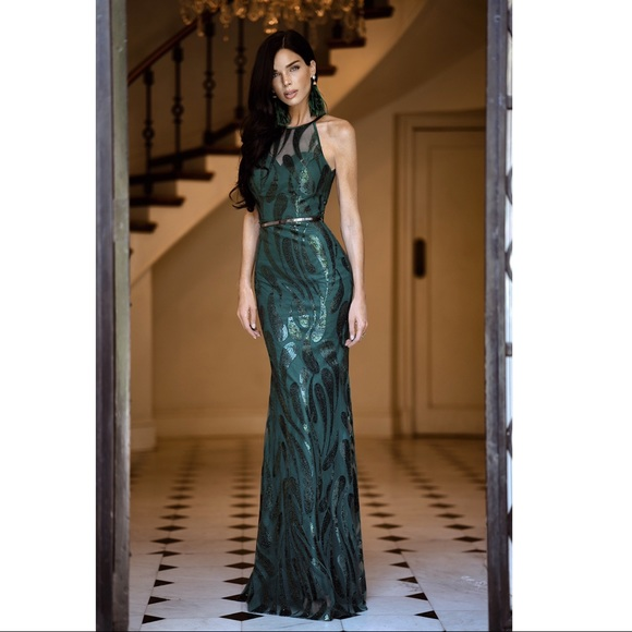 100% authentic the best attitude best supplier Emerald green gown.